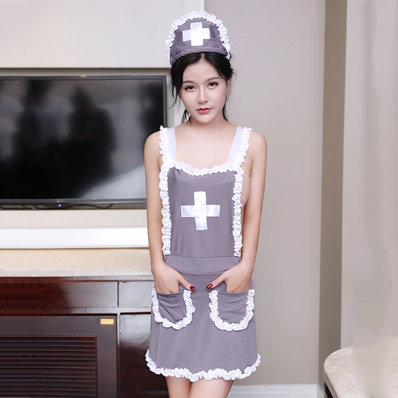 1 Set Women <font><b>Sexy</b></font> Uniform Nurse Cosplay Babydoll Underwear Chemises <font><b>Lingerie</b></font> <font><b>Sexy</b></font> <font><b>Halloween</b></font> Role Play Grey Erotic Costumes image