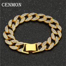 Width Crystal Chains Bracelets for Men Metal bracelet Gold color Luxury Male Bangles jewelry accessories Gifts homme Bracelet