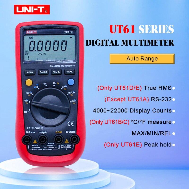 UNI-T UT61E Auto Faixa de Multímetro Digital True rms UT61A/B/C/D AC DC Medidor de Retenção De Dados multimetre + USB monitor de tensão e corrente