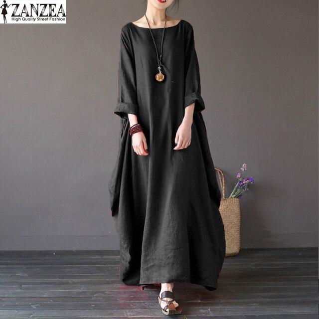 ZANZEA Oversize Womens Retro 3/4 Mouwen Baggy Maxi Lange Robe Dames Casual Party Tuniek Shirt Jurk Kaftan Solid Vestido