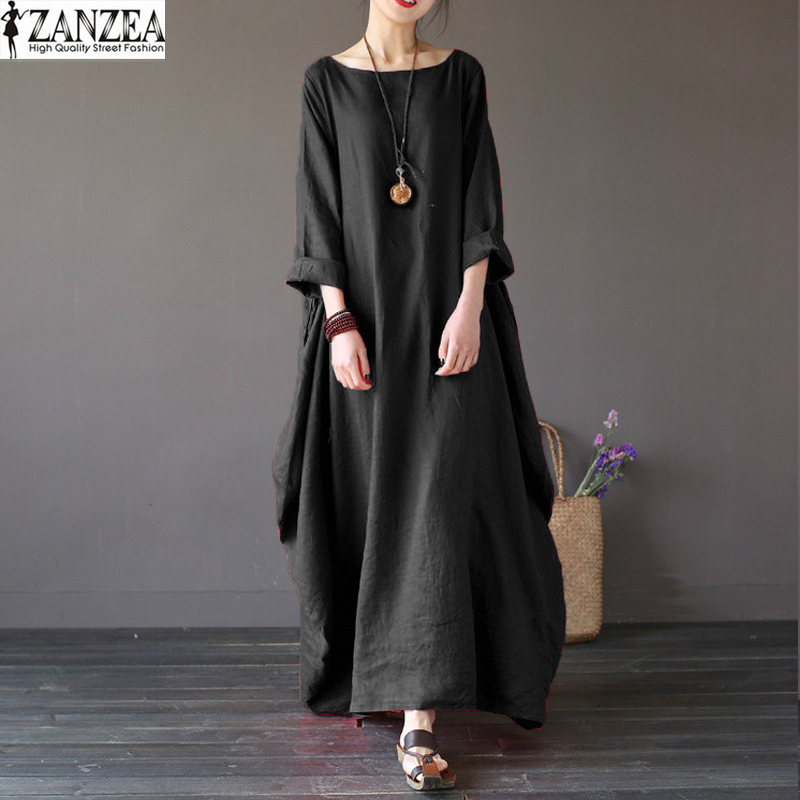 ZANZEA Oversize Femmes Rétro 3/4 Manches Baggy Maxi Long Robe Dames Casual Party Tunic Shirt Robe Caftan Solide Robe
