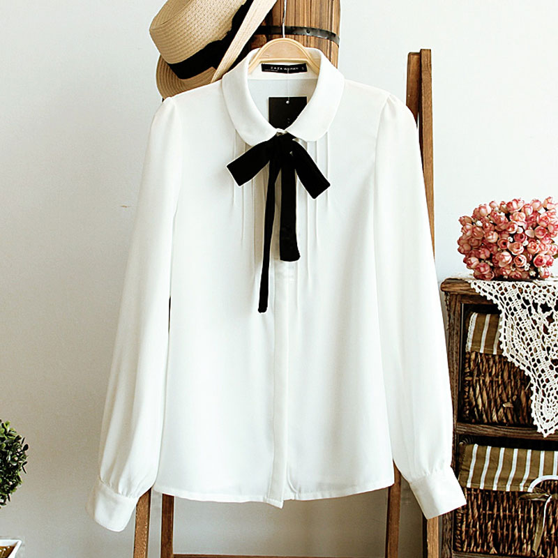 Spring Fashion female elegant bow tie white blouses Chiffon peter ...