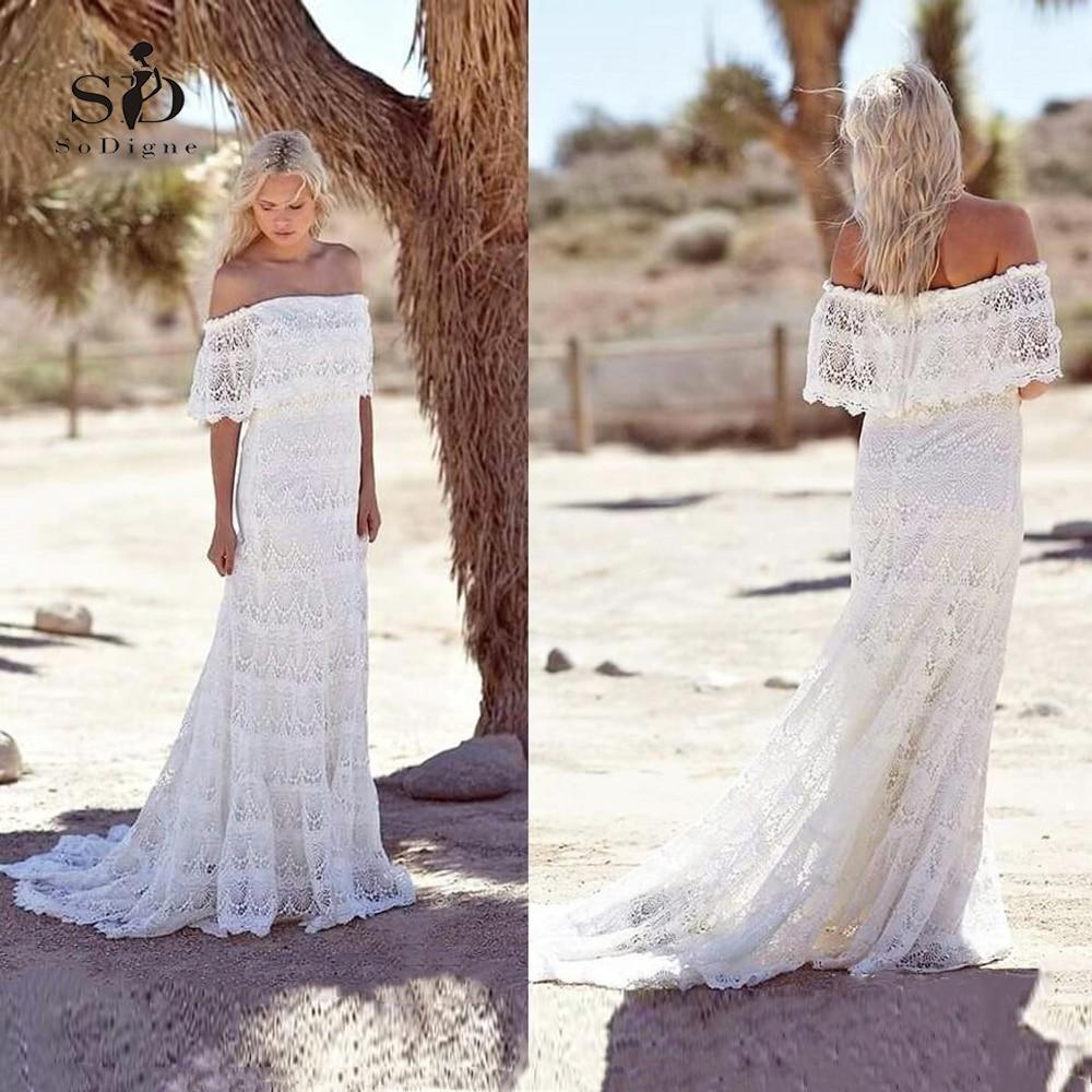 Lace Beach Wedding Dress Mermaid White Plus Size Boat Neck