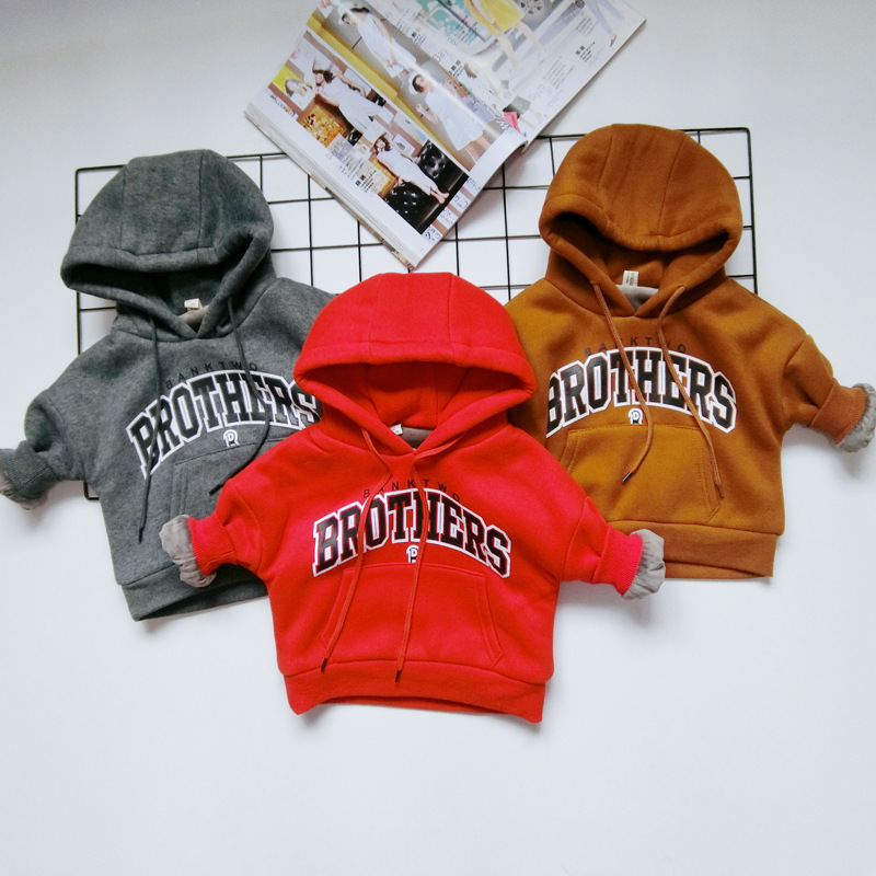Baby Boys Sweatshirts Long Sleeve Hooded Brother Letters T Shirts Cotton Girls Pullover Hoodies Tops 2017 Kids Tees Clothes