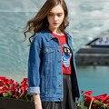 A primavera eo Outono BF vento cowboy Feminino seção Curta de mangas Compridas Soltas tamanho Grande jaqueta Jeans