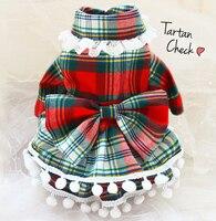 Gratis verzending Classic Schotland plaid schattige Baby kraag Kant Prinses hond en huisdier kleding