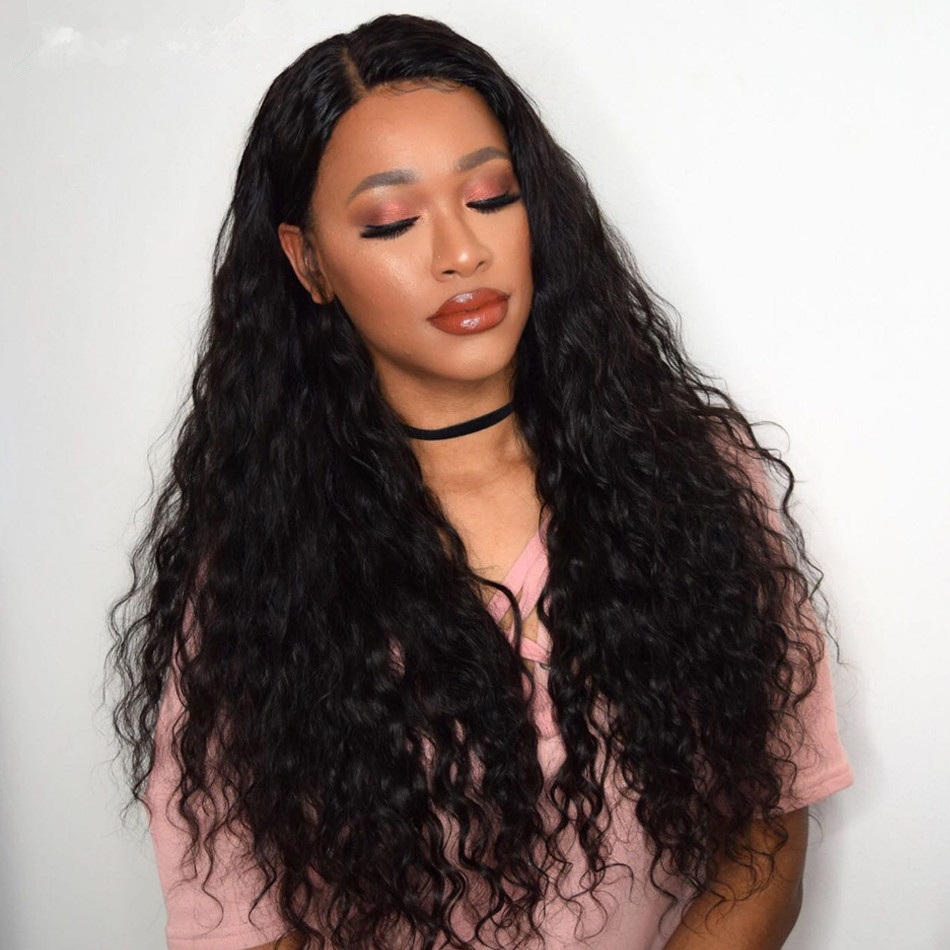 Peruvian Water Wave Human Hair Weave 3 Bundles With Lace Closure Frontal Curly Ear To Ear Closure With Non Remy Hair Bundles