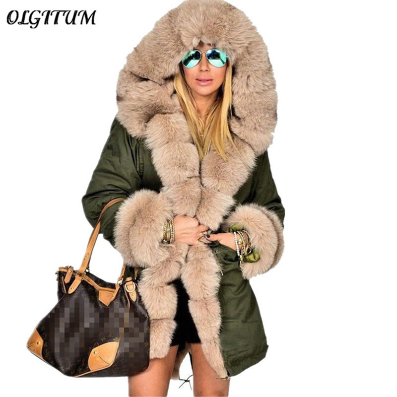 2019 Women winter loose coat Fashion hooded overcoat Faux Fur Luxury Ladies Casual   parka   Long section Trench Jacket Outwear