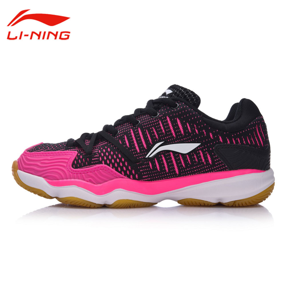 Li-Ning Women's Professional Cushion Badminton Training Shoes Breathable Sneakers LINING Double Jacquard Sports Shoes AYTM078 li ning professional badminton shoe for women cushion breathable anti slippery lining shock absorption athletic sneakers ayal024