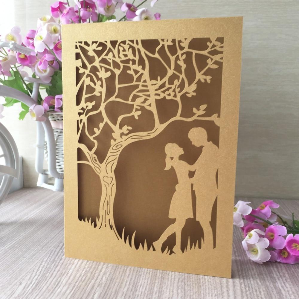 50pcs Gold Personalized Wedding Invitation Cards Laser Cut