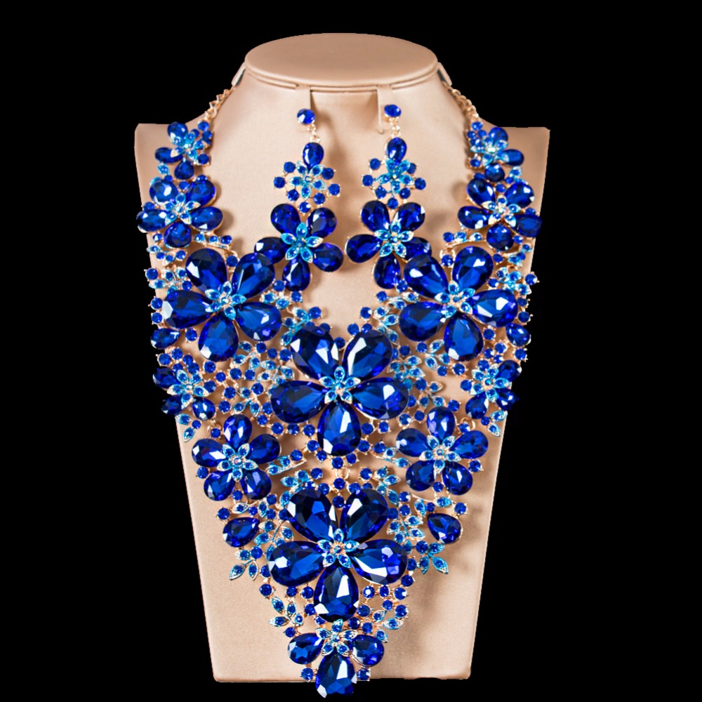 Lan palace boutiquei big  jewelry sets for party wedding enamel jewelry  Austrian crystal necklace and earrings free shippingLan palace boutiquei big  jewelry sets for party wedding enamel jewelry  Austrian crystal necklace and earrings free shipping