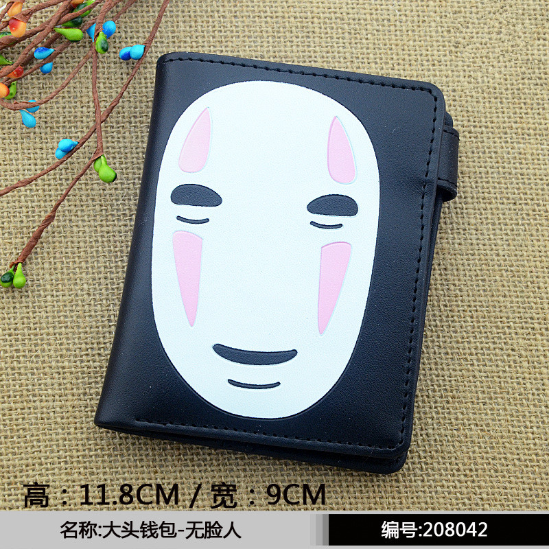 цена на No Face Man of Anime Spirited Away Wallet Parasitic Loge Detective Conan Tokyo Ghou Men Wallets With Zipper Pouch Coin Holder