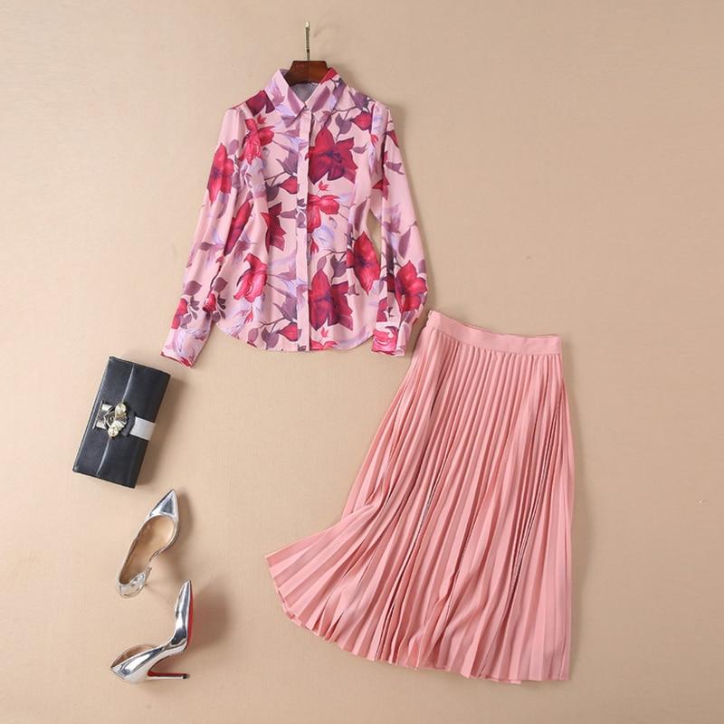 High Quality New Fashion 2020 Designer Runway Suit Set Women S Long Sleeve Floral Print Blouse Shirt Pleated Skirt Set Women S Sets Aliexpress