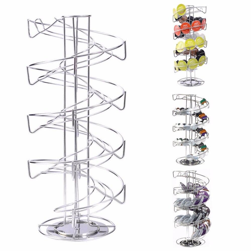Goplus Spiral 30 Capsule Coffee Pod Holder Tower Rotate Stand Storage Rack New HW51318