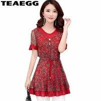 TEAEGG Chiffon Blusas Mujer De Moda 2019 Blusa Feminina Floral Print Womens Tops And Blouses Red Women Blouses Shirt WomenAL1184