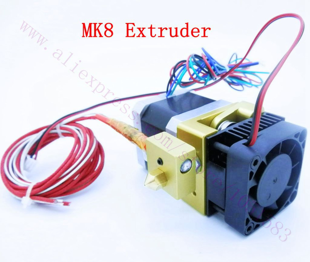 12/24V Fan Makerbot 3D Printer MK8 Single Extruder MK8 Extruder 12V/24V Heater 100K NTC thermistor,1.75mm Makerbot / Reprap 3d printer accessory brass nozzles 0 5mm mk8 makerbot golden 2 pcs