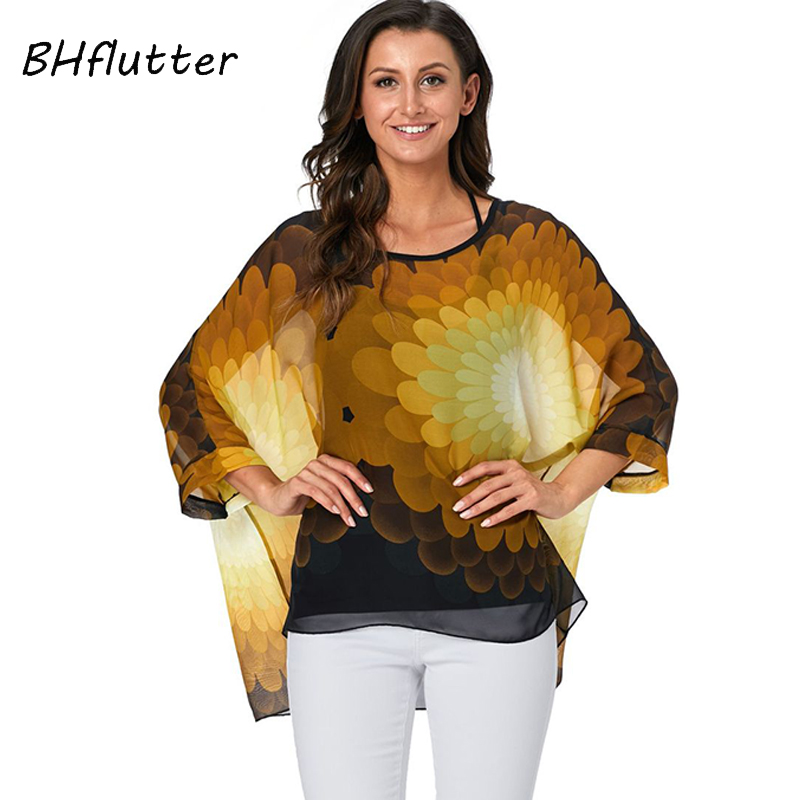 BHflutter Women   Blouse     Shirt   2019 Fashion Batwing Casual Loose Summer   Blouses   Ladies Floral Print Chiffon Tops Tees Blusas Mujer