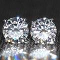 Genuine18K Ouro Branco 750 Parafuso de Volta 2 Carat Test Lab Positiva Grown Moissanite ct F Cor Brincos de Diamante Para As Mulheres