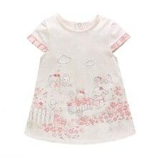 Vlinder 2018 New Fashion Baby Girls Summer Cute Dresses cartoon pattern flower printing Newborn Short Sleeves Infant Dresses