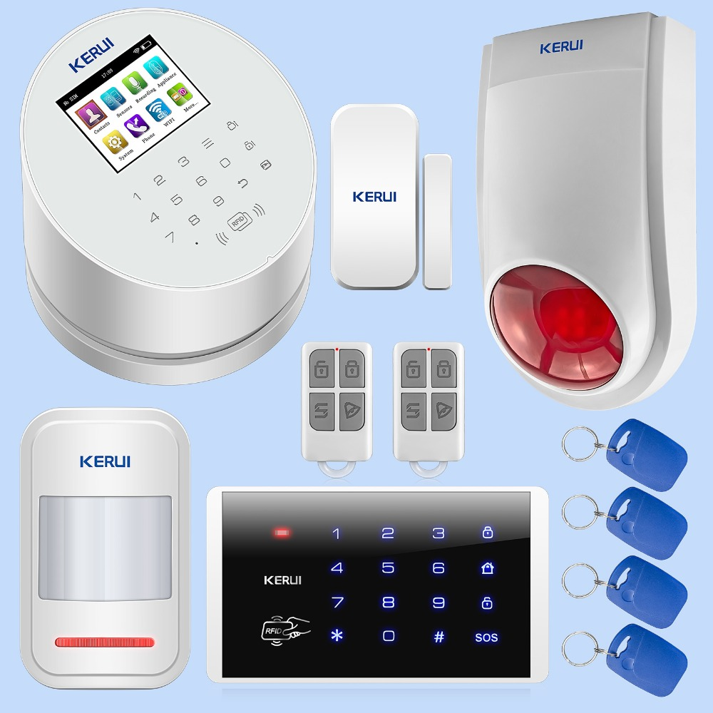 KERUI W2 Wireless WIFI GSM PSTN Alarm Smart Home Security Burglar Alarm System IOS Android APP Control Password Keypad Siren Kit