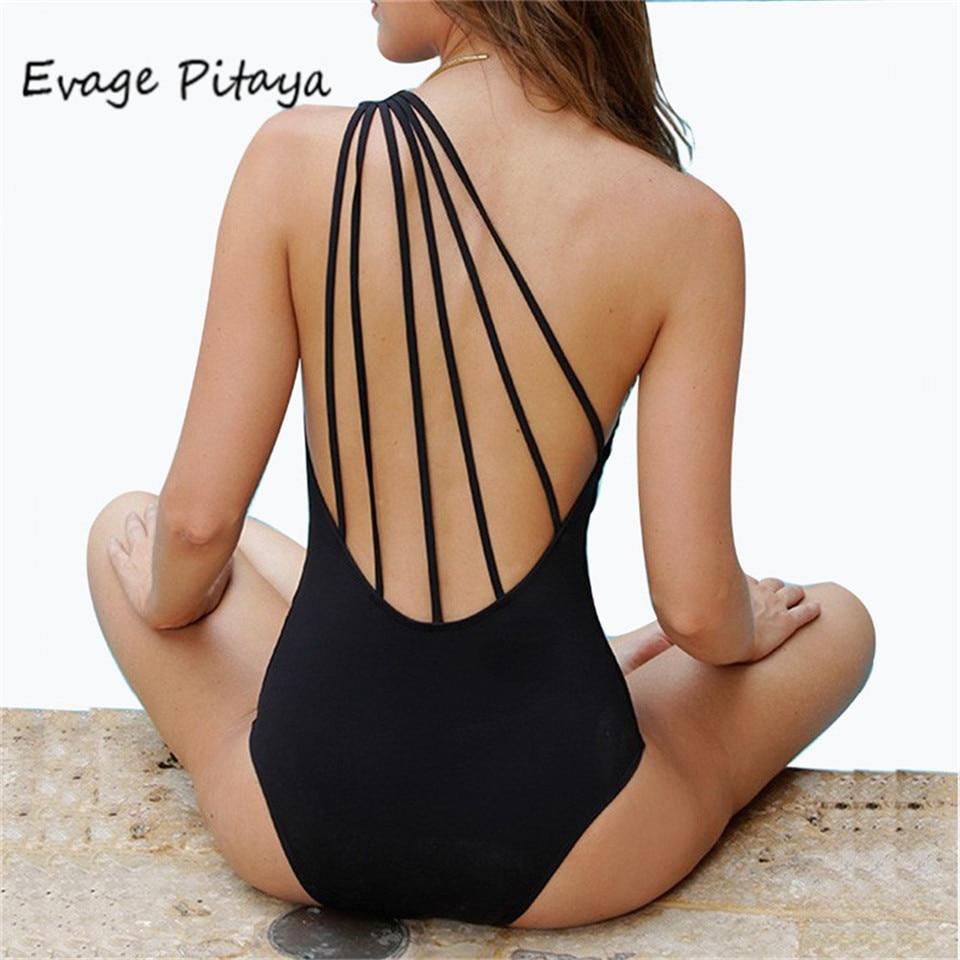 2017 swimsuit black Bandage Vintage One Shoulder Swimsut one piece swimsuit women Cut out Monokini Swim Suits  swimwear women