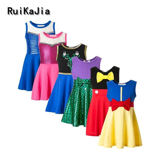 Одежда для девочки, платье принцессы Белоснежки, детская одежда, платье Белль Моана Минни Микки, платья для дня рождения, Костюм Русалки