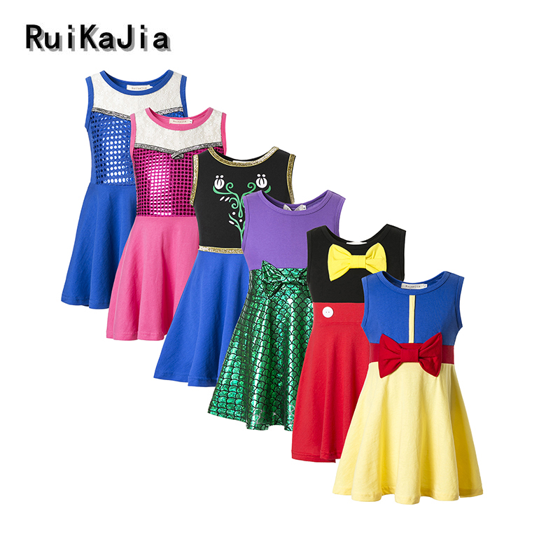 Girls Clothing snow white princess dress Clothing Kids Clothes,belle moana Minnie Mickey dress birthday dresses mermaid costume