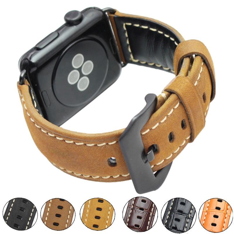 все цены на High Quality Vintage Genuine Leather Watchbands For Iwatch Apple Watch Band Strap 38mm 42mm Bracelet Watch Accessories онлайн