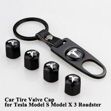 1set Zinc Alloy Car Tire Valve Cap Cover Logo Styling Wheel Valve Mouth Accessories for Tesla Model S Model X Roadster Model 3