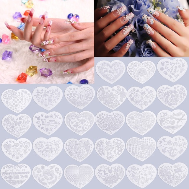 Heart Shape Nail Art Printing Plate Image Stamping Plates Manicure