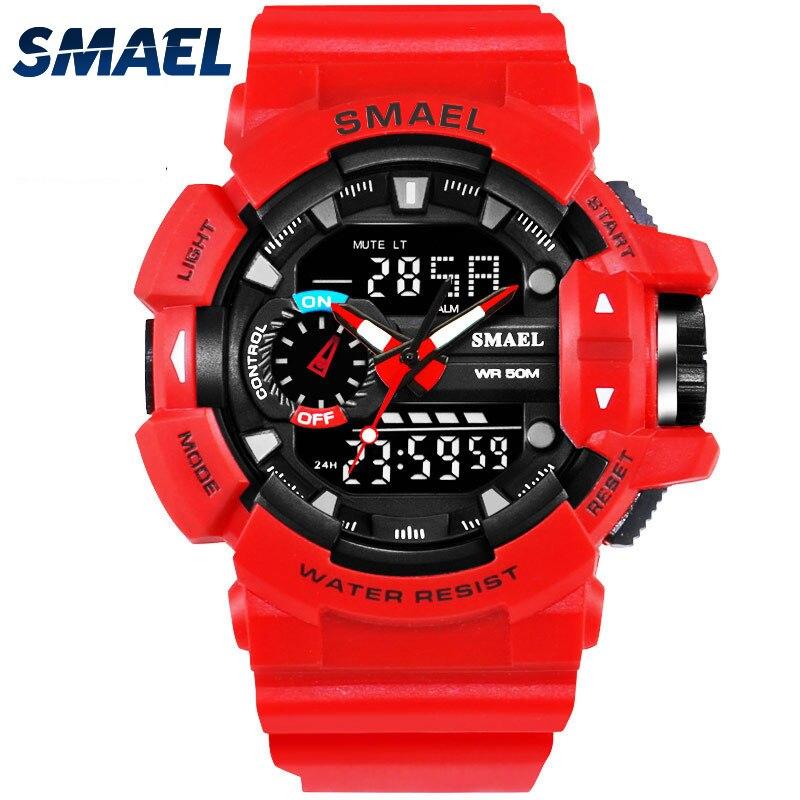 SMAEL Red Sport Clock Men Watches Man 30M Waterproof Watch LED Digital Dual Display Wristwatch relogio