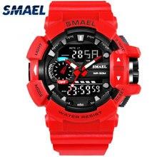 SMAEL Rouge Sport Horloge Hommes Montres Homme 30 M Étanche Montre LED Numérique Double Affichage Montre-Bracelet relogio masculino Mâle Saat 1436