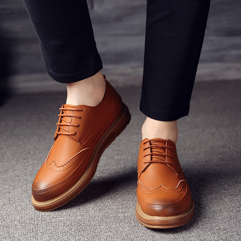 OSCO 2018 Autumn Winter new mens shoes Fashion breathable casual shoes flat Brogue shoes Lace-up leather shoes maleOSCO 2018 Autumn Winter new mens shoes Fashion breathable casual shoes flat Brogue shoes Lace-up leather shoes male