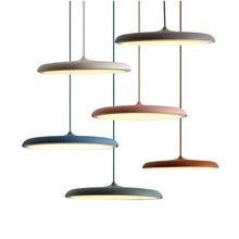 Современный простой итальянский дизайн Macaron подвесные светильники Фойе Спальня одноголовый светильник для ресторана летающая тарелка модель красочные droplight