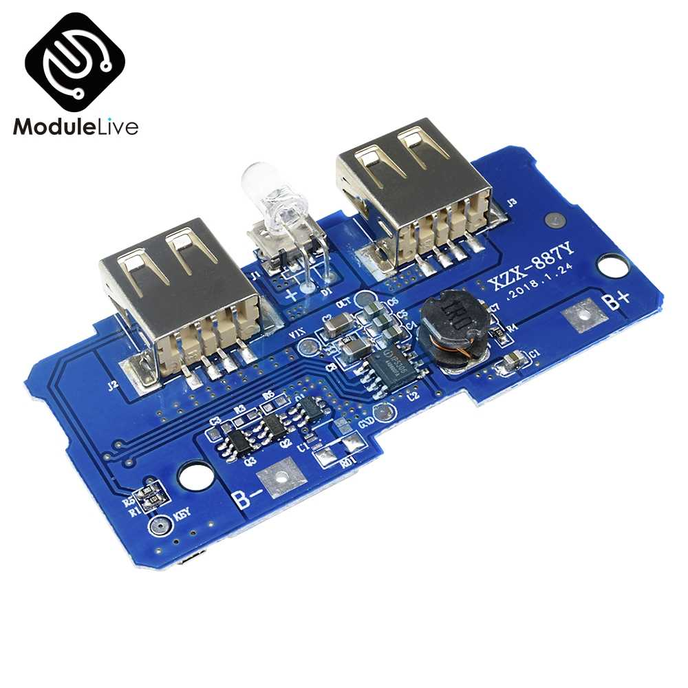 5V 2A Power Bank Charger Charging Circuit Module Board Step Up Boost Power Supply Module 2A Dual USB Two USB Output 1A Input