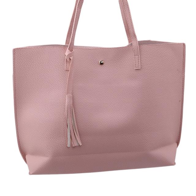 bc3fde5fce PU Leather Casual Tassel Handbags Female Designer Bag Vintage Big Size Tote  Shoulder Bag High Quality