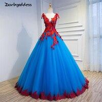 Senhoras elegantes Profundo Double V Neck Vestidos De Noiva Azul Royal com Casamento Do Laço vermelho Vestidos de Festa Formal Vestido 2017 Robe De Soiree