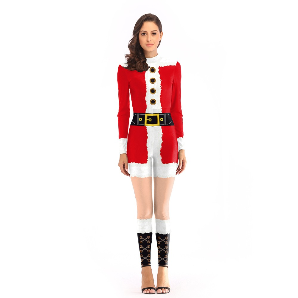 Long Sleeve  Santa Claus Xmas Dress Sexy Christmas Costume Party Club For Adult Women jumpsuits