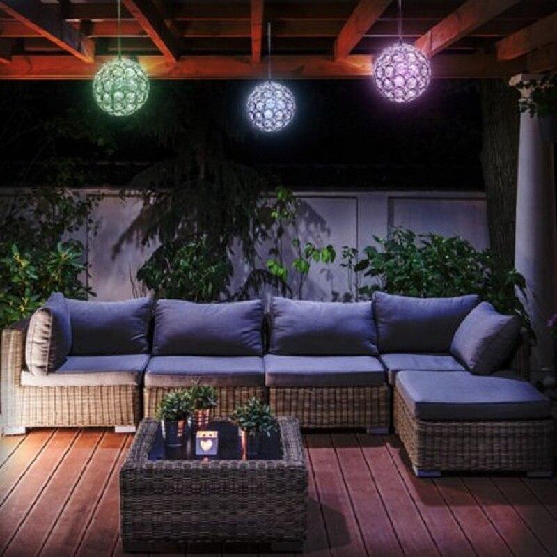 Innovative Solar Ball Hanging LED Lamp Outdoor Color Changing Walkway Landscape Light Garden Decorative Night Lights Chandelier