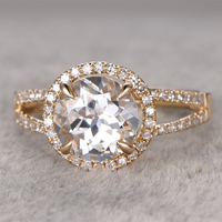 2 3ct White Topaz Engagement Ring 14K Yellow Gold Band Round Cut Stone Promise Ring Bridal