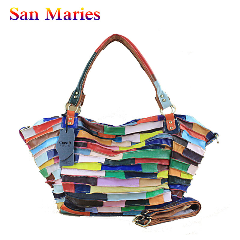 San Maries 2019 New Fashion Womens Sheepskin Tote Bag Casual Colorful Striped Patchwork Shoulder Messenger Bag Ladies HandbagSan Maries 2019 New Fashion Womens Sheepskin Tote Bag Casual Colorful Striped Patchwork Shoulder Messenger Bag Ladies Handbag