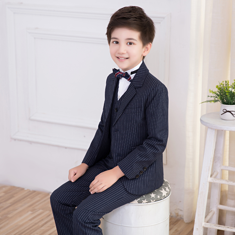 (Jacket + Vest + Shorts + Shirt + Tie) Boy Suits Flower girl Slim Fit Tuxedo Brand Fashion Bridegroon Dress Wedding Suit Blazer