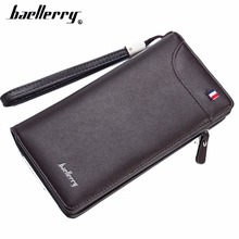 Baellerry Men Wallets Long Card Holders Zipper Phone Pocket PU Leather Purse Top Quality Solid Fashion Brand Bag