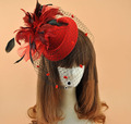 Retro Veil Hairpin Net Headdress Feather Head Flower Stage Performance Small Hat