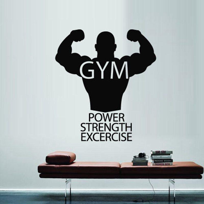 Buy gym sticker fitness decal body for Custom vinyl mural prints