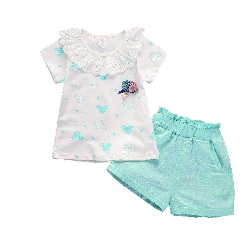 79086141d58b0 BibiCola 2017 الصيف الطفل الفتيات رياضية الأطفال مجموعة ملابس الطفل الملابس  قميص جذاب + السراويل 2