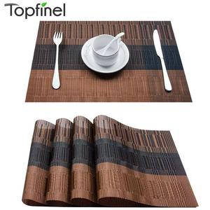 Topfinel Set of 4 PVC Bamboo Plastic Placemats for Dining Table Runner Linens Place Mat in Kitchen Accessories Cup Wine Mat(China)