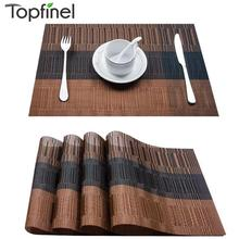 Set of 4 PVC Bamboo Plastic Placemats for Dining Table Runner Linens place mat in Kitchen Accessories Cup Wine