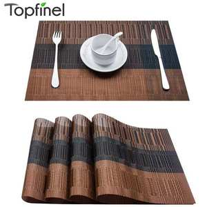 Topfinel Set of 4 PVC Bamboo Plastic Placemats for Dining Table Runner Linens Place Mat in Kitchen Accessories Cup Wine Mat
