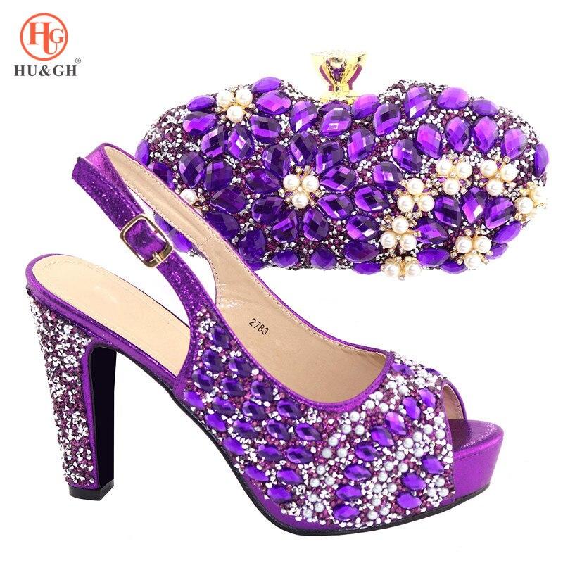 2019 moda fioletowy kolor afryki kobiety dopasowanie włoskie buty i torba zestaw ozdobione Rhinestone damskie włoskie buty i torby w Buty damskie na słupku od Buty na  Grupa 1